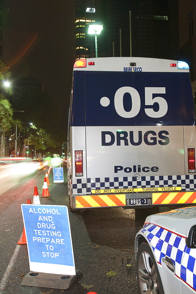 Melbourne police staging a campaign to stop and check drivers for drinking and driving and taking drugs and driving, Victoria, Australia, Pacific