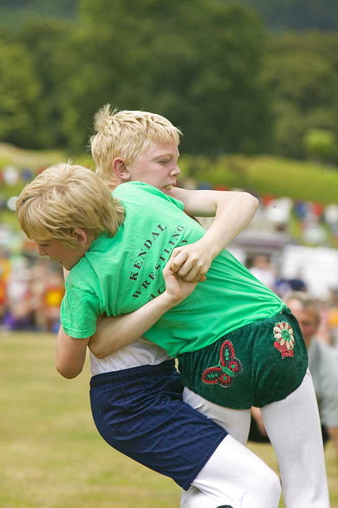 Children Cumberland Wrestling at Ambleside Sports, Lake District, Cumbria, England, United Kingdom, Europe