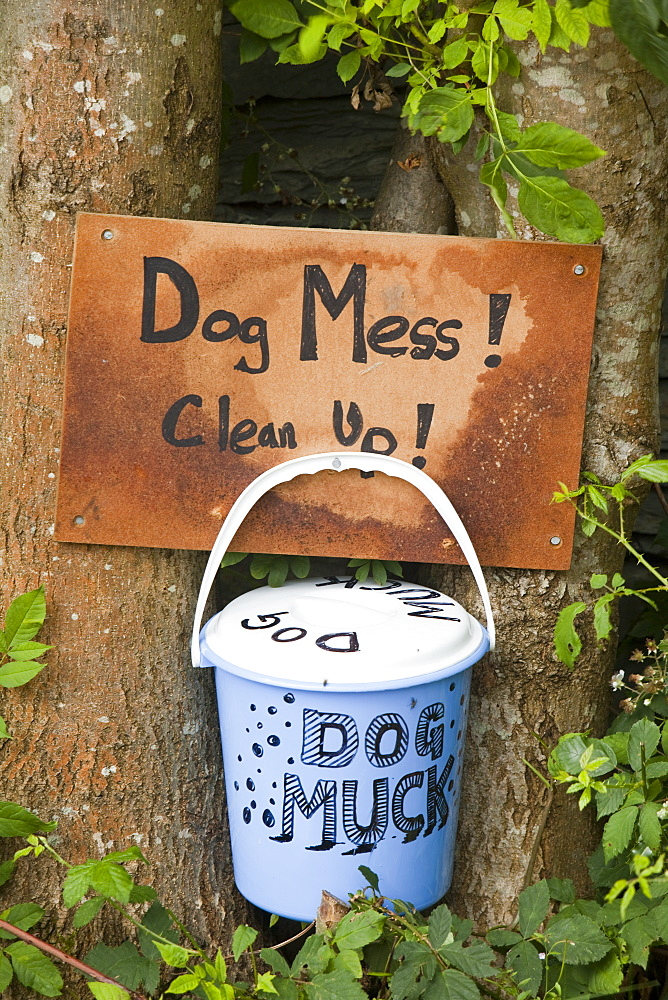 A bucket placed on a lane where inconsiderate dog walkers often allow their dogs to foul without cleaning up, in Ambleside, Cumbria, England, United Kingdom, Europe