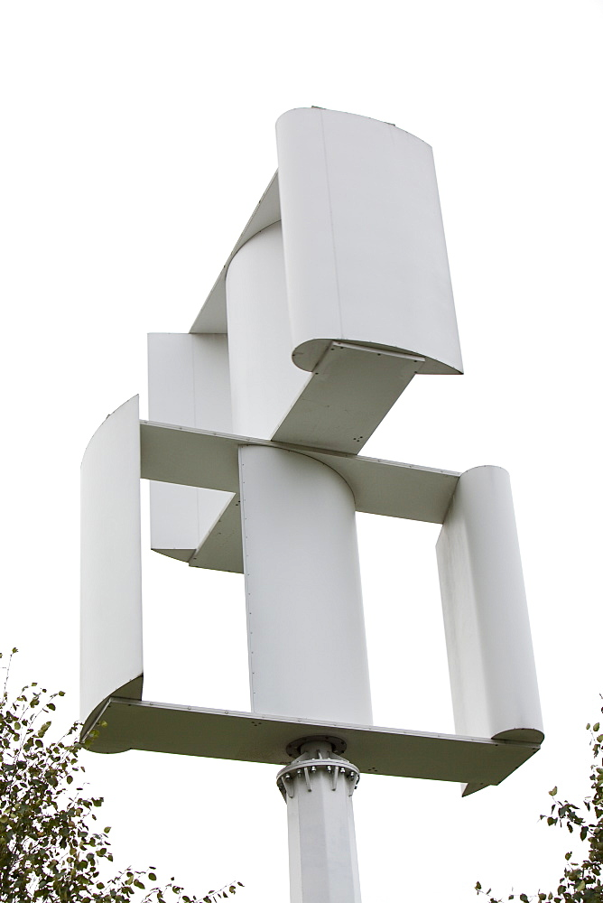 A vertical axis wind turbine in the grounds of a Tesco supermarket in Oldham, Lancashire, England, United Kingdom, Europe