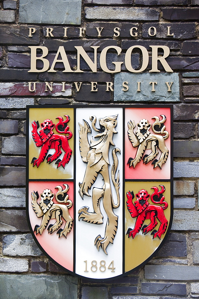 The coat of arms for Bangor University, North Wales, United Kingdom, Europe