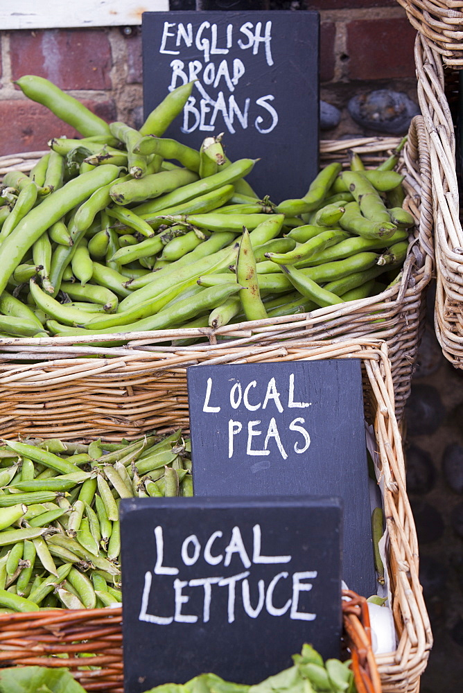 Local food for sale at a shop in Cley Next the Sea, Norfolk, England, United Kingdom, Europe