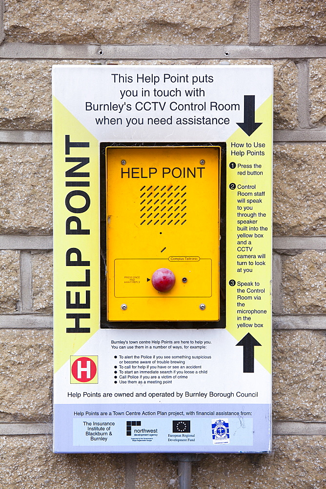 A help point linked to CCTV surveillance in Burnley, Lancashire, England, United Kingdom, Europe