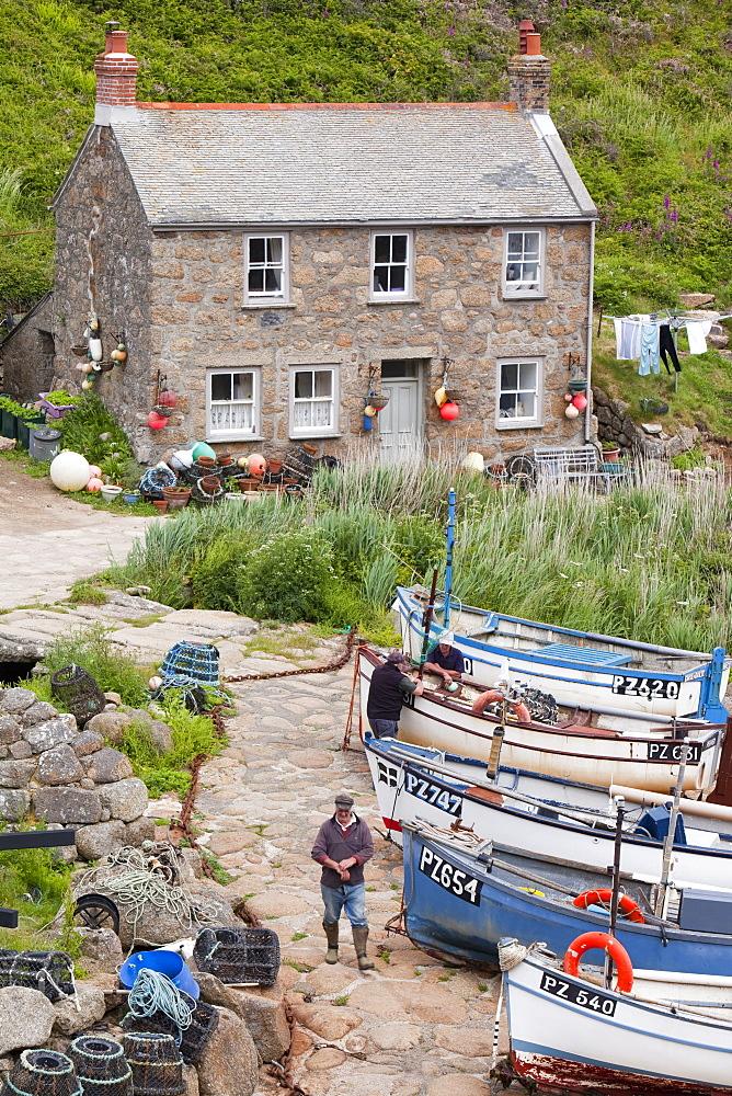 Penberth, a tiny Cornish fishing village near Porthcurno, Cornwall, England, United Kingdom, Europe