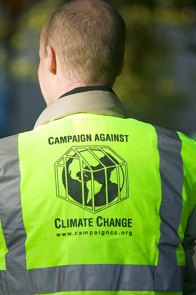 Steward at the I Count climate change rally in London, England, United Kingdom, Europe