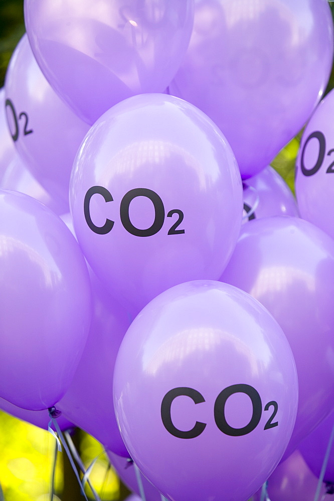C02 balloons at the I Count climate change rally in London, England, United Kingdom, Europe