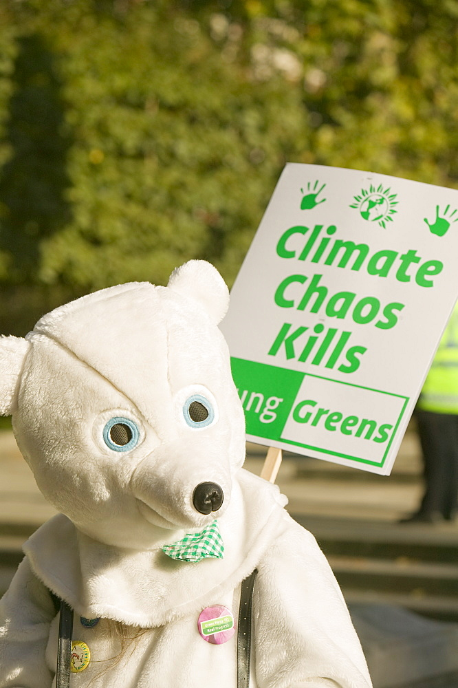 A protester dressed as a Polar Bear at the I Count climate change rally in London, England, United Kingdom, Europe