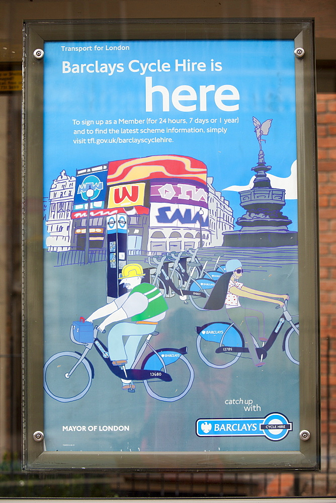 A poster for the Barclays Cycle Hire scheme, London, England, United Kingdom, Europe
