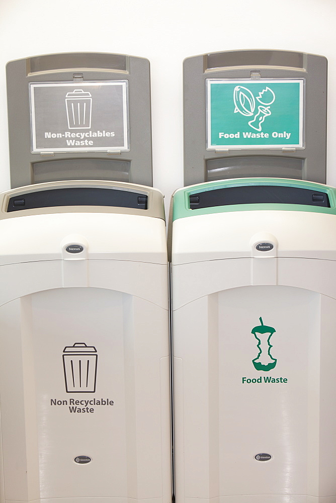 Recycling bins in the cafe at Kendal College, Cumbria, England, United Kingdom, Europe