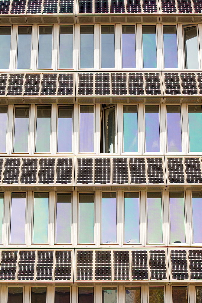 Solar panels on a building on the campus of Northumbira University, Newcastle upon Tyne, Tyneside, England, United Kingdom, Europe