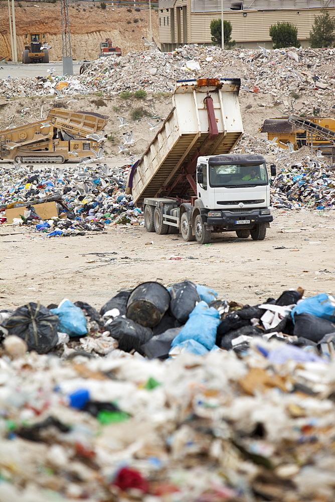 Rubbish on a landfill site in Alicante, Costa Blanca, Murcia, Spain, Europe
