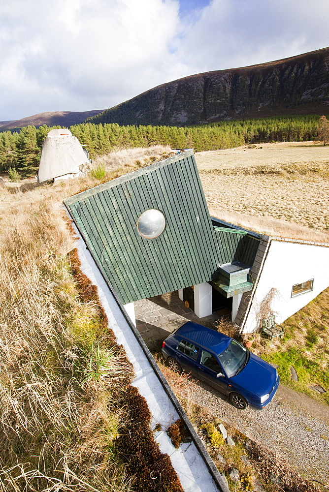 A green house with triple glazed windows, built in the 1970's and still exceeding green build regulations, Feshiebridge, Cairngorm, Scotland, United Kingdom, Europe
