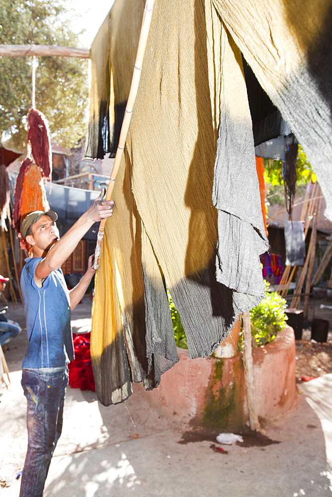 Cloth hanging up to dry in the dyers souk in Marrakech, Morocco, North Africa, Africa