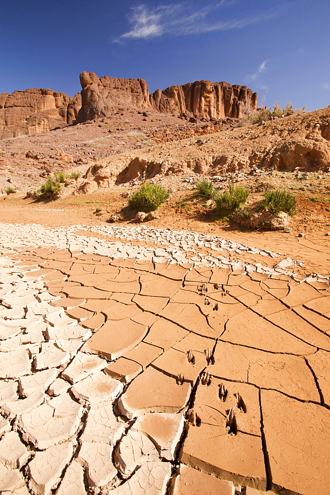 A dried up river bed in the Anti Atlas mountains of Morocco, North Africa, Africa