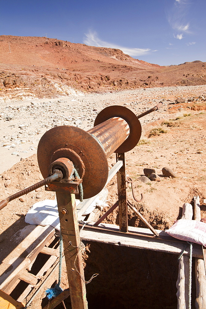 A well next to a dried up river bed in the Anti Atlas mountains of Morocco, North Africa, Africa