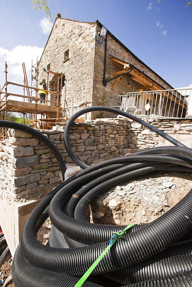 Piping for the ground source heat pump at the Hyning in Grayrigg, an old farmhouse and barns being converted into eight holiday letting properties, near Kendal, Cumbria, England, United Kingdom, Europe
