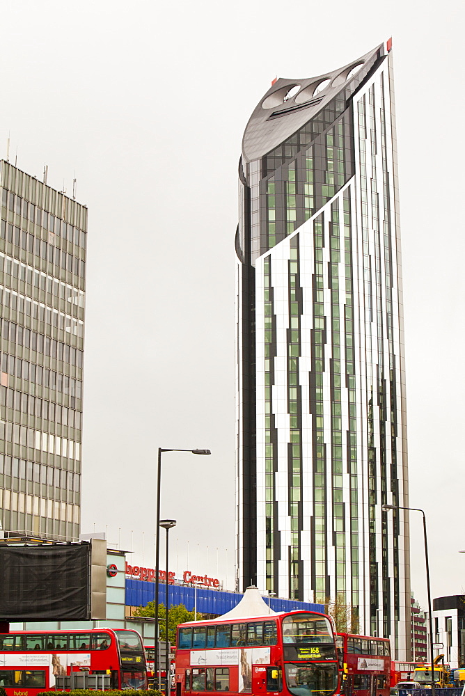 The Strata building at the Elephant and Castle, the first building in the world to have wind turbines integrated into the fabric of the building, London, England, United Kingdom, Europe