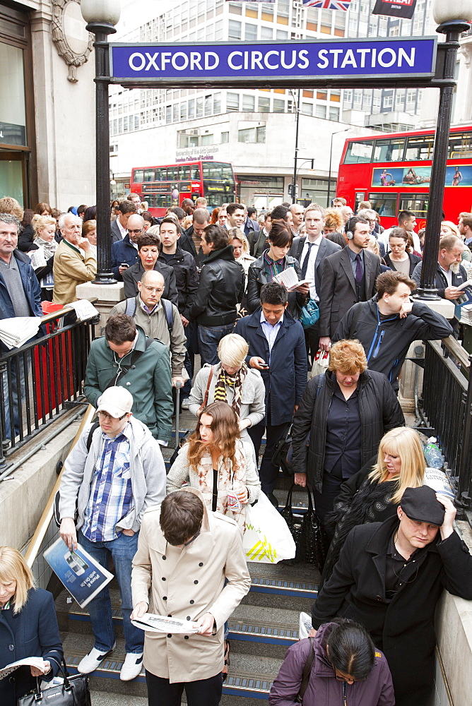 Passengers queueing to get into Oxford Circus tube station, closed due to the high volume of passengers at rush hour, London, England, United Kingdom, Europe