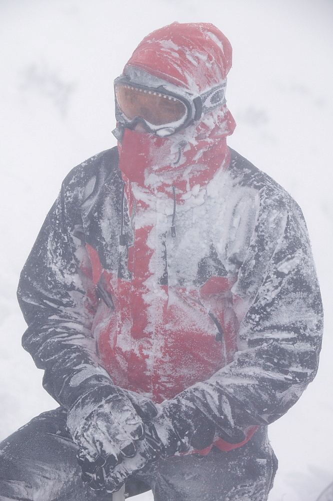 Mountaineers surviving atrocious conditions on Cairngorm, Scotland, United Kingdom, Europe