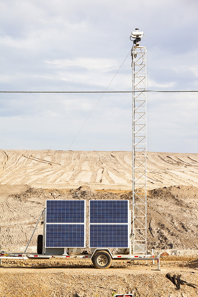 The irony of solar powered CCTV at Shell's Albian Sands tar sands mine, Alberta, Canada, North America