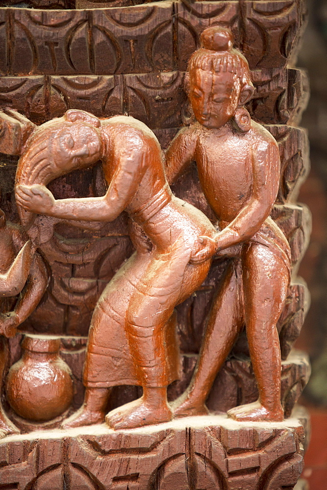 Ancient Kama Sutra wood carvings depicting sexual positions, Pashupatinath Temple, a Hindu temple dedicated to Lord Shiva, UNESCO World Heritage Site, Kathmandu, Nepal, Asia