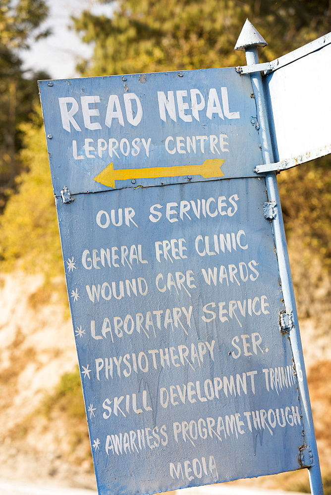 A sign for a Leprosy service in Kathmandu, Nepal, Asia