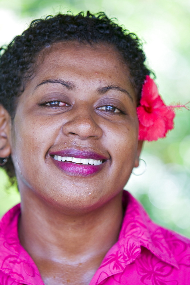 A Fijian women with a flower in her hair, Fiji, Pacific