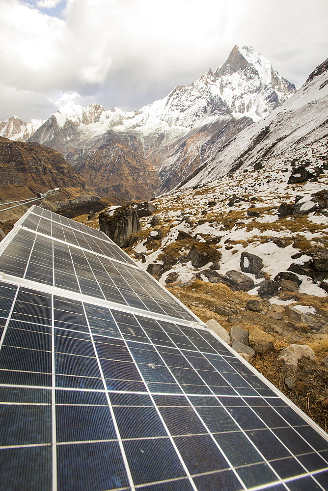 Solar photo voltaic panels powering a Guest house at Annapurna Base Camp in the Himalayas, Nepal, Asia