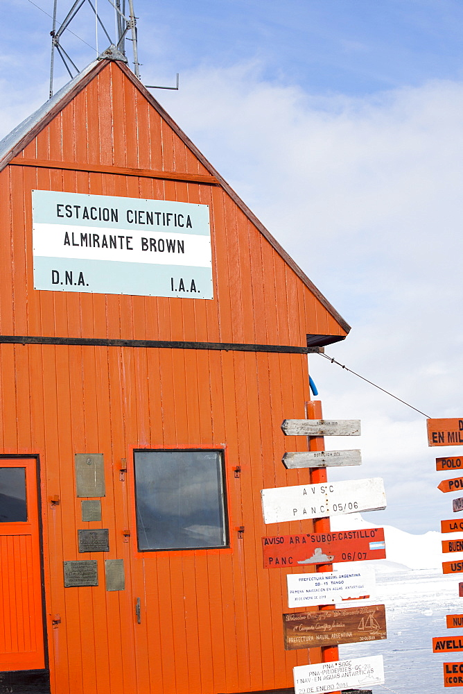 The Argentine antarctic research station Almirante Brown in stunning coastal scenery beneath Mount Walker in Paradise Bay off Graham Land on the Antarctic Peninsular. the Peninsular is one of the most rapidly warming places on the planet.