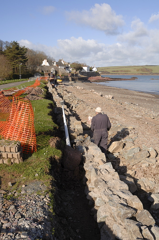 Sea wall construction, Dale, Pembrokeshire, Wales, UK, Europe