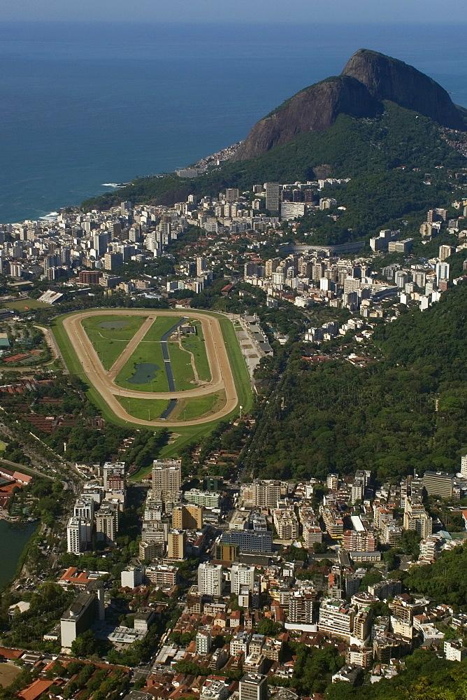 Aerial view of Jockey Club, Gavea neighborhood and Dois Irmaos Hill, Rio de Janeiro, Brazil, South America
