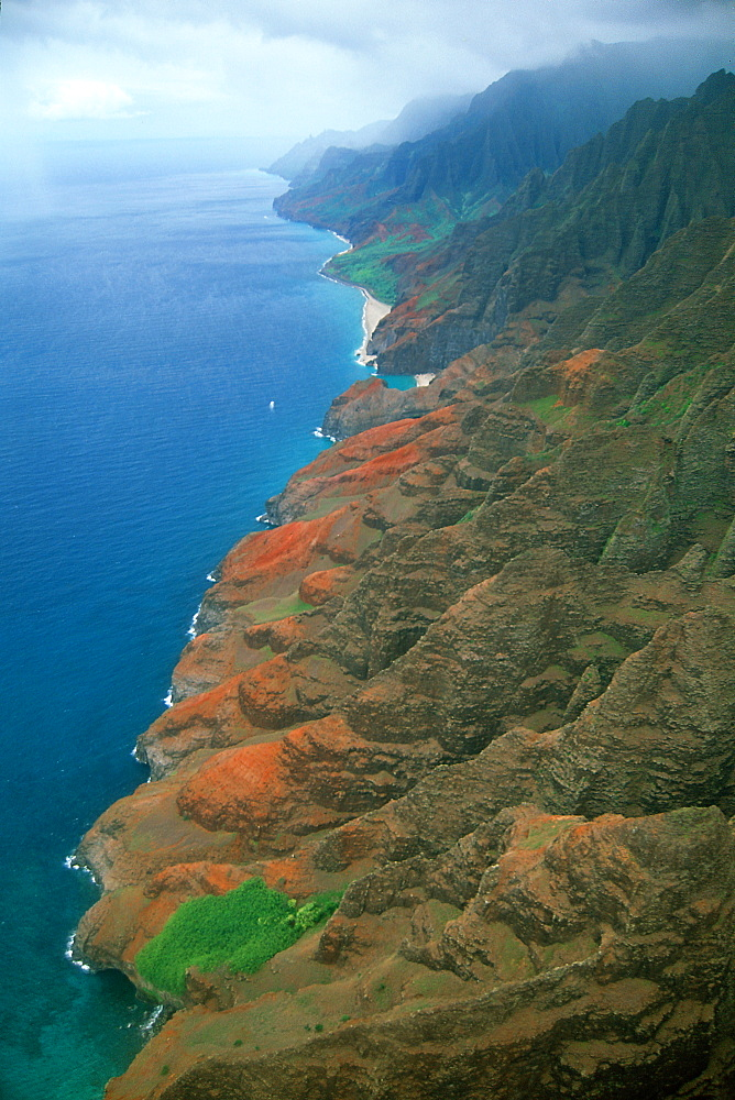 Aerial view of cliffs and hidden beaches on the Napali coast, Kauai, Hawaii, United States of America, Pacific - 920-1567