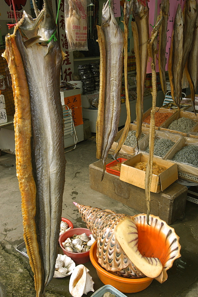 Dried moray eels and shells for sale at Nanfangao fish market, Suao, Taiwan, Asia