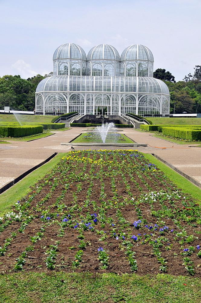 Gardens and greenhouse at the Botanical Garden of Curitiba (Jardim Botanico Fanchette Rischbieter), Paranu, Brazil, South America