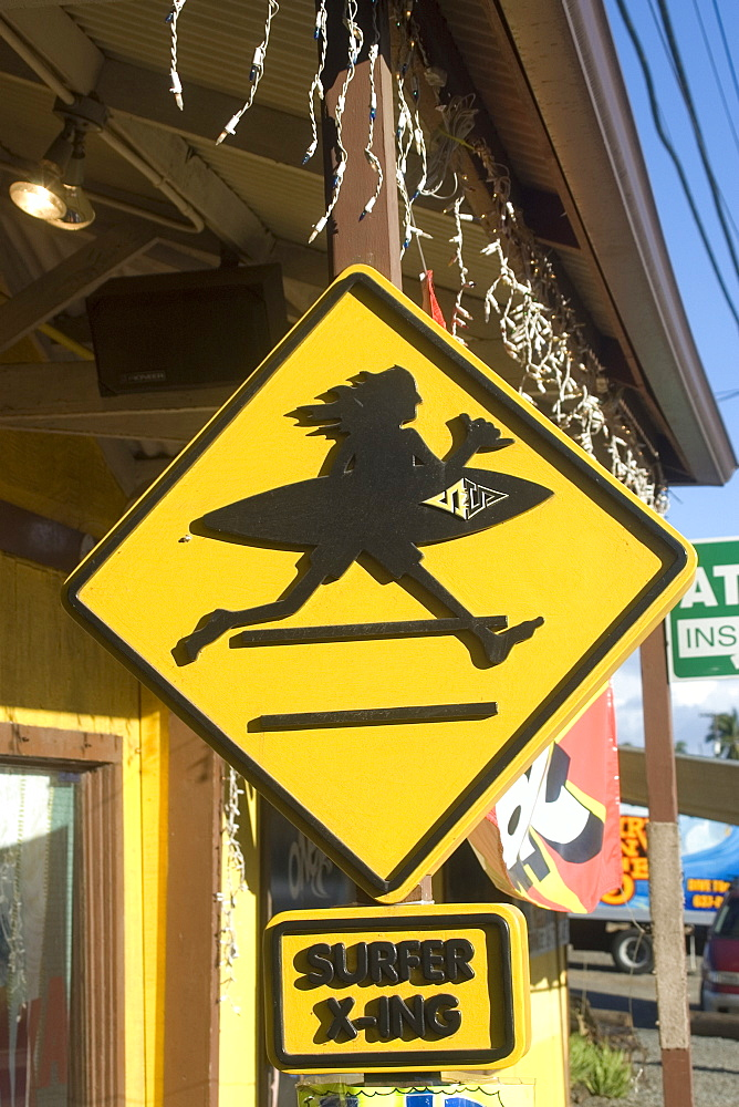 Surfer crossing logo, Surf 'n Sea surf shop, Haleiwa, North shore, Oahu, Hawaii, United States of America, Pacific