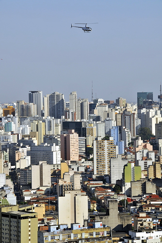 Sao Paulo and helicopter, view from the rooftop of Italia Building, Brazil, South America - 920-919