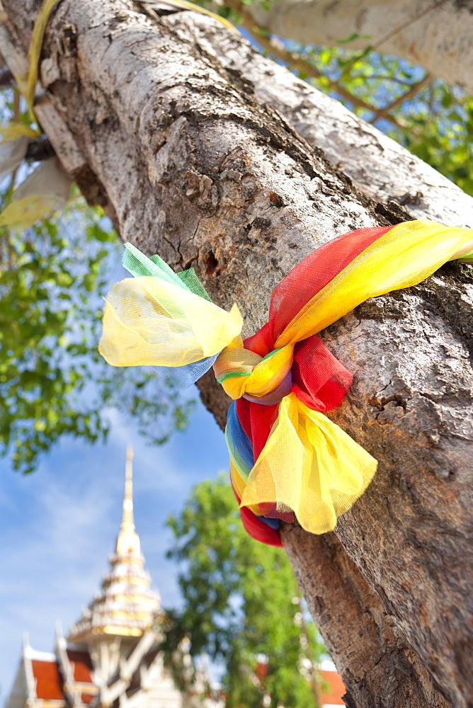 Prayer ribbon, Karon Beach, Buddhist Temple, Phuket Island, Phuket, Thailand, Southeast Asia, Asia - 921-1376