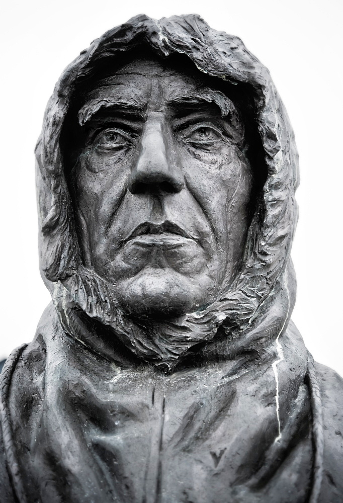 Roald Amundsen, Famous Explorer Statue. Ny-Alesund, Town center, Svalbard, Norway
