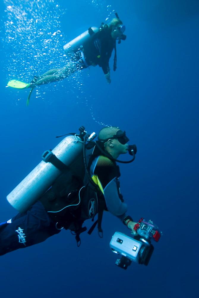 scuba diving, underwater photography, camera man. Cains, Queensland, Australia
