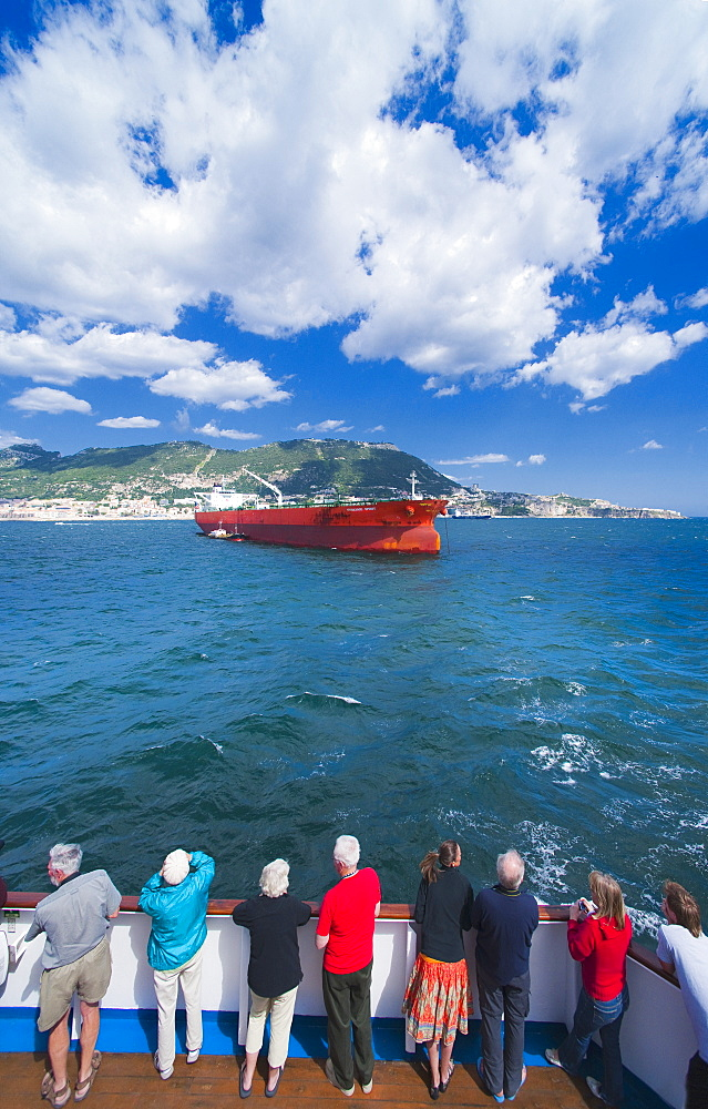 12/04/2009. United Kingdom, City of Gibraltar, Rock of Gibraltar, entering harbour of Gibraltar, ships, cargo ships . City Of Gibraltar, St Michalel's Cave, Gibraltar Strait . UK, United Kingdom