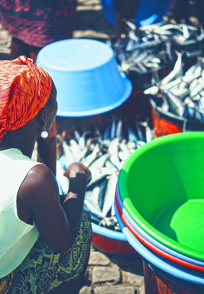 Local Markets, Fish, 03/04/2009. Praia, Assomada Village, Sao Tiago Island. Cape Verde