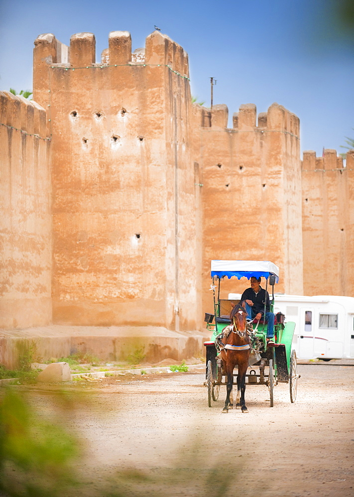 10/04/2009. Moroco, Agadir, Taroudant, Palace Salam, horse and cart, palace wals, fortification. Taroudant, City Center, Agadir. Morocco