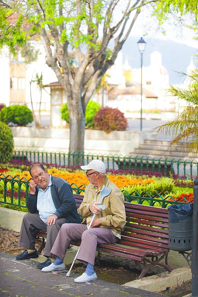 Plaza de la Constition, 08/04/2009, local men sitting. Santa Cruz, Tenerife Island. Canary Islands, Spain, Espa–a