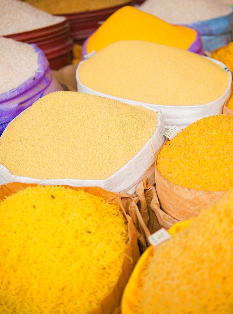 10/04/2009. Moroco, Agadir, Taroudant, Souks, market, stalls, grains, herbs and vegetables. Taroudant, Souks, Agadir. Morocco