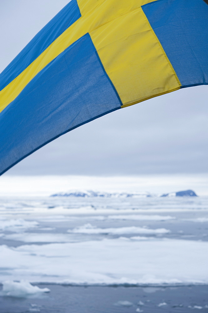 Sweedish Flag. Longyearbyen, Moffen Islands, South ice sheets, Svalbard, Norway