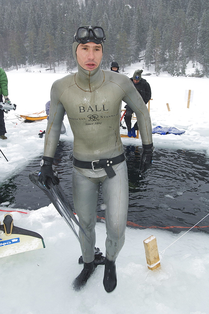 Gillieume Nery world record holder and Champion during the Oslo Ice Challenge 2009. Oslo, Norway