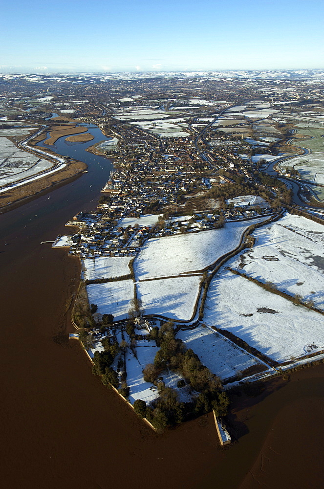Snow view of Topsham on the River Exe. Devon, UK