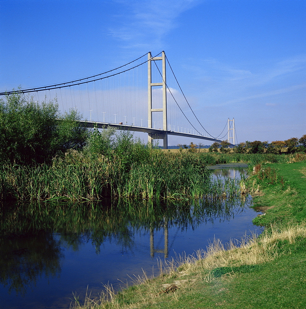 Humber Bridge from the south bank, Yorkshire, England, United Kingdom, Europe - 94-330