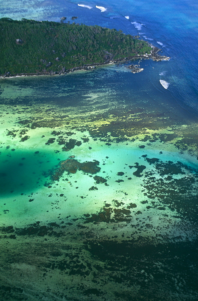 Aerial view of St Anne Marine Park, Mahe, Seychelles, Indian Ocean