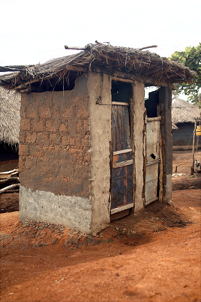 An IDP camp (internally displaced people) in Te-Tugu district of Northern Uganda has been created to accommodate the mass of Ugandan refugees fleeing the LRA (Lords Resistance Army) who are fighting the Ugandan government and its people.  This is one of several public conveniences around the camp. Te-Tugu, Uganda, East Africa